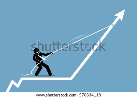 Businessman pulling arrow graph chart up with a rope. Vector artwork depicts gain, profit, boost, and reward.