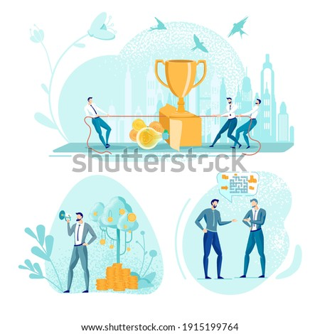 Businessman Pulling Rope, Competing for Champion Cup. Coach Promoting His Business and Finance Training Program with Megaphone. Colleagues Sharing Ideas About Complicated Task. Three Pictures Set. Stock photo ©