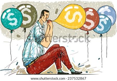 businessman pumping air in