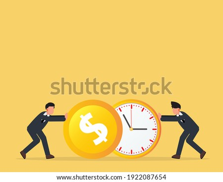 Businessman push a o clock and coin. describe time is money, compete, move and faster. business concept  Foto stock ©