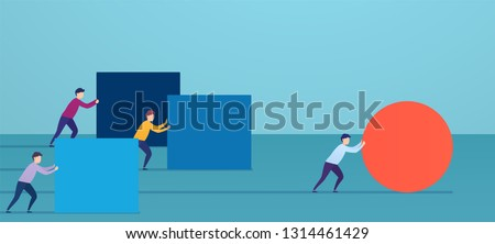 Businessman pushes red sphere, overtaking competitors. Concept of winning strategy, business efficiency, leadership.