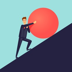 Businessman pushes up a mountain stone. Flat design vector illustration.