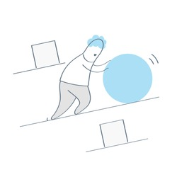 Businessman pushing a sphere or ball leading the race against pushing square boxes. Power of resistance, efficiency, smart work, winning strategy, innovation in business. Flat line cartoon vector