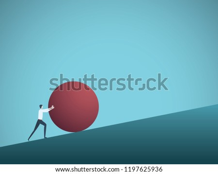 Businessman pushing ball uphill vector concept. Symbol of determination, ambition, motivation and achievement. Eps10 vector illustration.