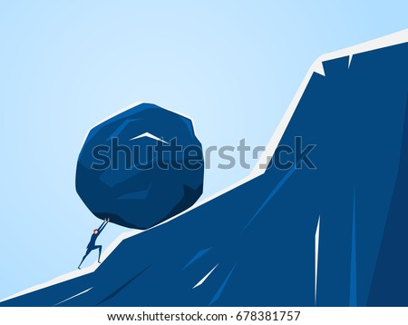 Businessman pushing huge stone up the hill. Business problem crisis hardship and burden concept. Cartoon Vector Illustration.