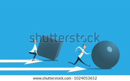 Businessman pushing sphere and leading the race against group other not so lucky guy pushing boxes. Concept of innovation in business, winning strategy, efficiency. Vector