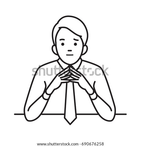 Businessman raised and steeple hands, in confidence, or thoughtful moment concept. Vector illustration character portrait, outline hand draw sketch style.