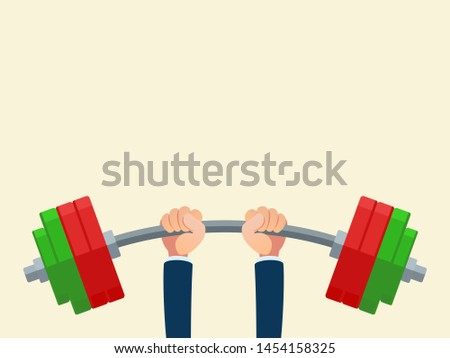 Businessman raised the barbell over his head. High power concept. Achieving the goal. Blank banner for advertising. Business vector illustration, flat design, cartoon style. Isolated background.