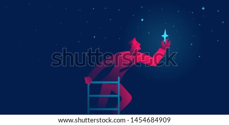 businessman reaches the star. achieving goal business concept vector illustration in red and blue neon gradients