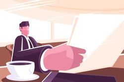 Businessman reading news in morning press vector illustration. Man sitting at table in business suit with newspaper in hand and drinking coffee at breakfast flat style concept