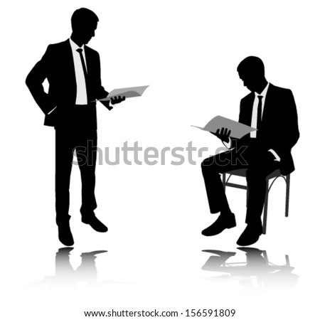Businessman Reading Report Silhouettes