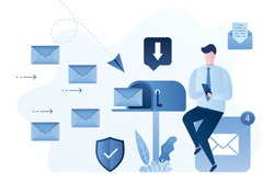 Businessman reads mail on smartphone. Mailbox and receives letters. Handsome male employee receive email. Digital marketing concept. Secure and fast mail. Online communication. Vector illustration