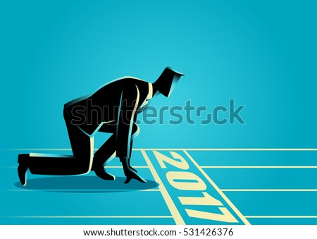 Businessman ready to sprint on starting line of the year 2017. Starting career, business concept