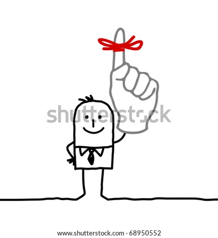 businessman & red ribbon on finger