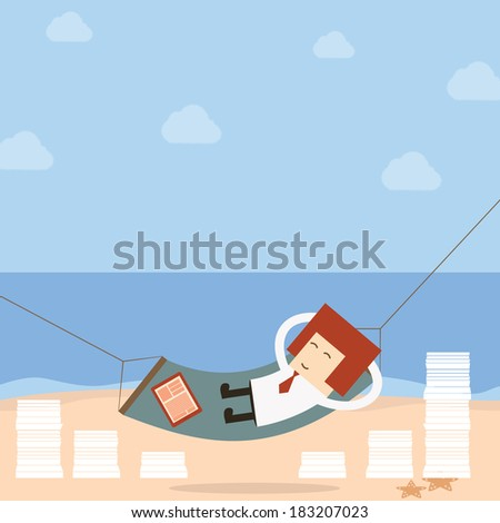 businessman relax of work on