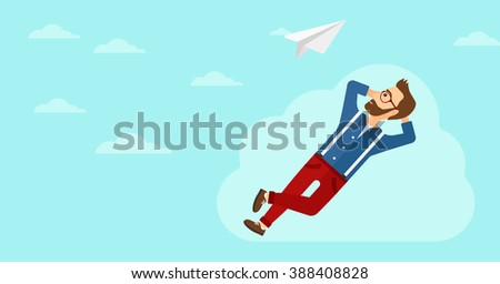 businessman relaxing on cloud