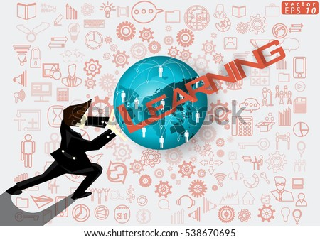 Businessman release the power of Idea and Concept Vector illustration with Learning        Text ,Map Globes,icon,people