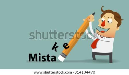 businessman removing mistake