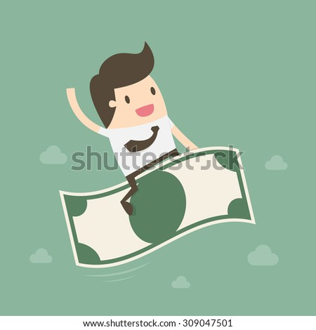 businessman riding flying money