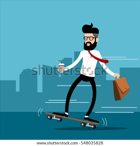 businessman riding skateboard and holding a glass of iced coffee., vector