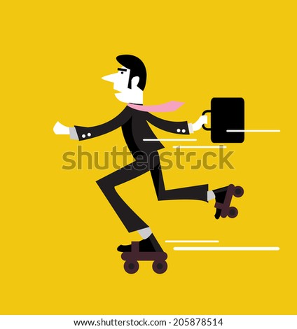 Businessman roller skating with briefcase. business people design. vector illustration