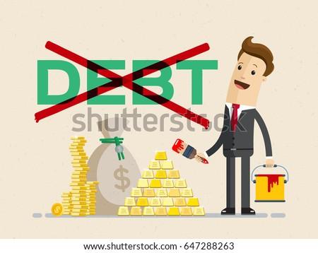 businessman  ross out word debt