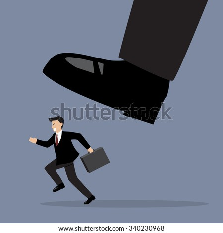 Businessman run away from stomping foot. Business concept