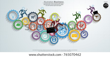 Businessman Run -  Icon  business and  Cog - Modern design Idea and Concept Vector illustration  Infographic template.
