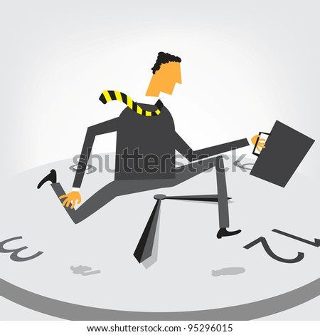 businessman run on clock