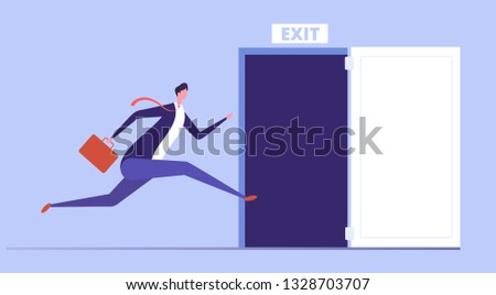 businessman run to open exit