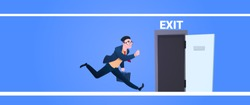 businessman run to open exit door man running from work evacuation sing emergency on blue background flat banner vector illustration