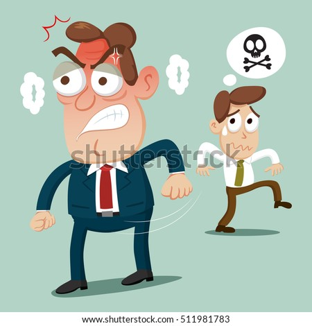 businessman runaway from angry