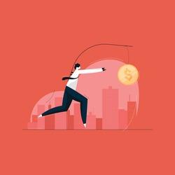 businessman running after dangling dollar coin