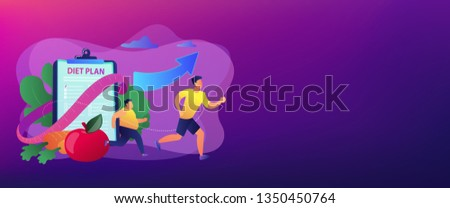 Businessman running and losing weight with diet plan and healthy food, tiny people. Weight loss diet, low-carb diet, healthy meal food concept. Header or footer banner template with copy space.
