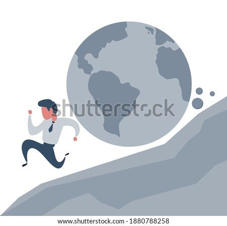Businessman running away from planet earth that is rolling down to him. Climate change concept. Vector illustration, flat design, cartoon style. Stockfoto ©