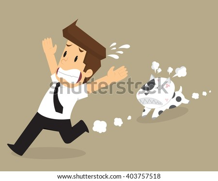 businessman running away from