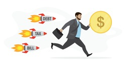 Businessman running away from rockets- tax,bill,debt. Handsome male employee holding dollar coin in hand. Running office worker. Tax Time concept. Cartoon sad male character, business problem. Vector