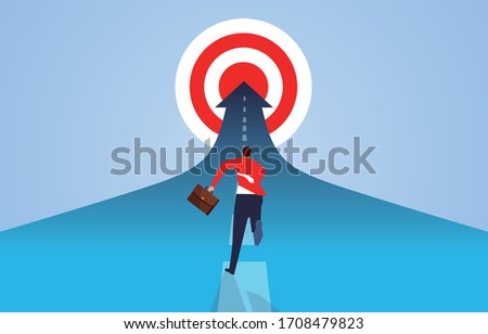 Businessman running desperately to reach the goal, businessman persistent pursuit spirit Foto stock ©