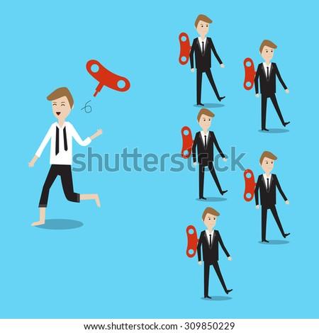 businessman running different