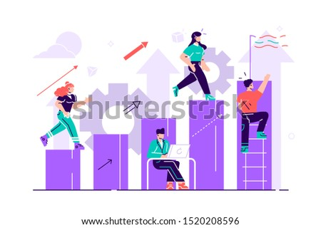 Businessman running down the stairs to the goal in the form of a flag. Career planning. Career development concept. Team work. Flat style vector illustration for web page, social media, documents.