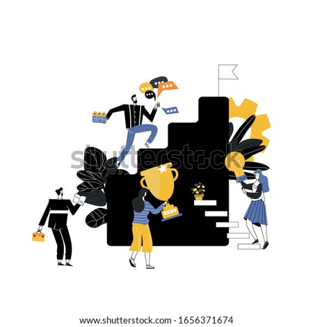 businessman running down the stairs to the goal with a flag, career planning, career development concept, team work. Vector illustration in flat style.