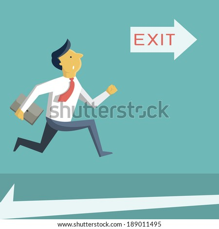 Businessman running in a hurry, looking at arrow with exit sign, and going to open door. Business concept in safety, urgency, security, or emergency.  Foto d'archivio ©