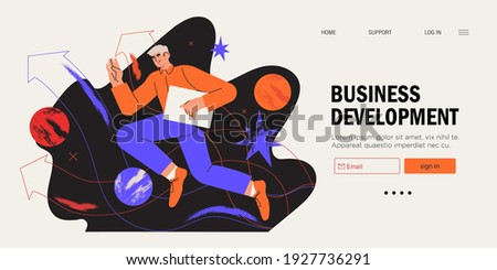Businessman running on arrow through obstacles to his goal. Business developement, career success or growth and opportunity, startup concept banner, landing web page. Creative trendy character.
