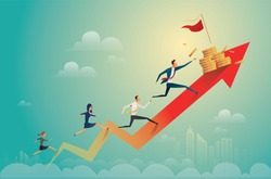 businessman running on coins graph to success, business concept illustration