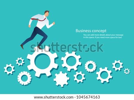 businessman running over machine gear wheel cog wheel showing work life action strategy Foto d'archivio ©