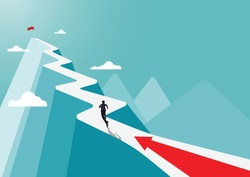 Businessman running to the success flag on top of the mountain,  symbol of the startup, business finance concept, achievement, leadership, vector illustration flat style