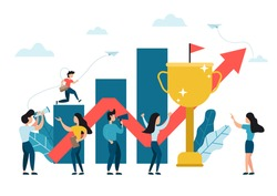 Businessman running up growing graphs to the target with big gold trophy cup and red arrow pointing up, challenge, career and path to the goal. Business concept growth to success, creative ideas.