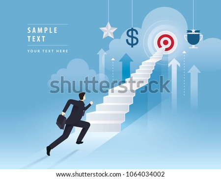 Businessman running up stairway to the target, Career, Challenge, Path to the goal, Business concept growth to success, Creative ideas, Reach the target, Cartoon vector and illustration.