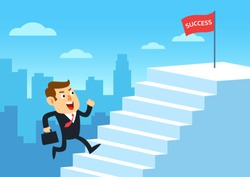 Businessman running up stairway to the top of success, Development business concept growth and the path to successful, Cartoon flat design vector illustration