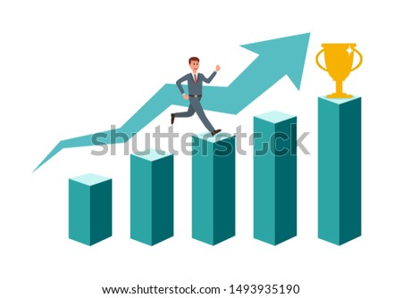 Businessman running up the stairs to the goal in the form of a flag, career planning, career development concept. Vector illustration.